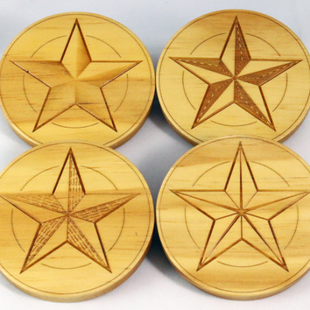 Wood Country Star Coasters