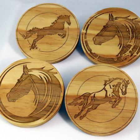 Wood Mixed Horse Coasters